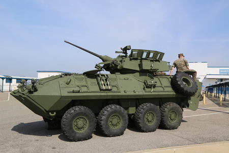 NEW YORK - MAY 28, 2017: Light Armored Reconnaissance Vehicle (LAV-25) presented during Fleet Week 2017 in New York