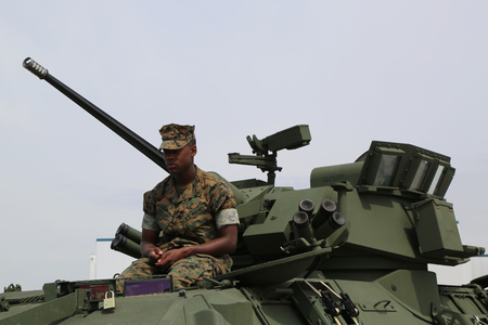 NEW YORK - MAY 28, 2017: US Marine on Light Armored Reconnaissance Vehicle (LAV-25) presented during Fleet Week 2017 in New York
