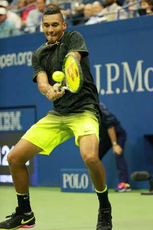 NEW YORK - SEPTEMBER 3, 2016: Professional tennis player Nick Kyrgios of Australia in action during his round 3 match at US Open 2016 at Billie Jean King National Tennis Center in New York
