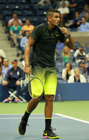 grand hard: NEW YORK - SEPTEMBER 3, 2016: Professional tennis player Nick Kyrgios of Australia in action during his round 3 match at US Open 2016 at Billie Jean King National Tennis Center in New York