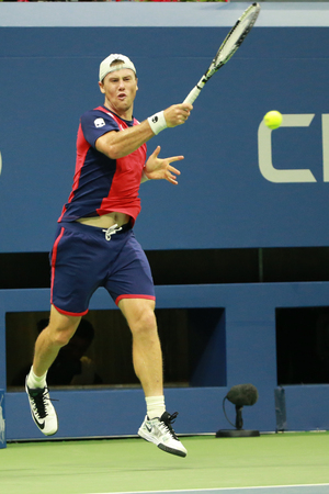 NEW YORK - SEPTEMBER 3, 2016: Professional tennis player Illya Marchenko of Ukraine in action during his round 3 match at US Open 2016 at Billie Jean King National Tennis Center in New York