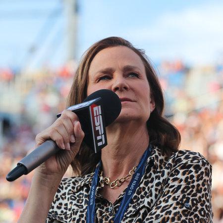 racket stadium: NEW YORK - SEPTEMBER 5, 2016: ESPN analyst Pam Shriver comments tennis match at US Open 2016 at Billie Jean King National Tennis Center New York