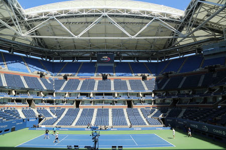 NEW YORK - AUGUST 28, 2016: Newly Improved Arthur Ashe Stadium at the Billie Jean King National Tennis Center ready for US Open 2016 tournament in Flushing, NY