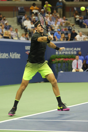 racket stadium: NEW YORK - SEPTEMBER 1, 2016: Grand Slam champion Juan Martin Del Porto of Argentina in action during his US Open 2016 round 2 match at the Billie Jean King National Tennis Center