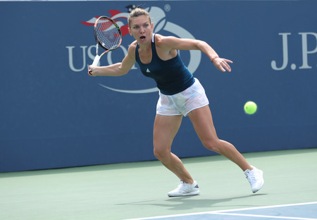 NEW YORK - SEPTEMBER 5, 2016: Professional tennis player Simona Halep of Romania in action during her round four match at US Open 2016 at Billie Jean King National Tennis Center in New York Editorial