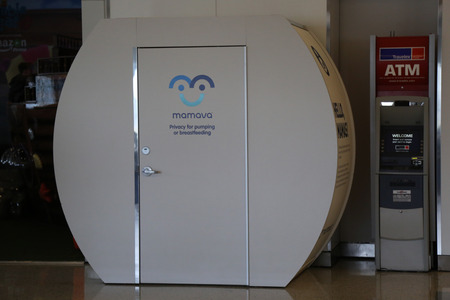 suite: NEW YORK- JUNE 9, 2017: Mamava Suite for nursing mamas is a place for women to pump or breastfeed inside of JetBlue Terminal 5 at John F Kennedy International Airport in New York Editorial