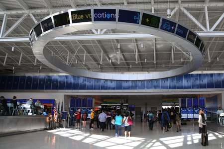 jetblue: NEW YORK- JUNE 9, 2017: Inside of JetBlue Terminal 5 at John F Kennedy International Airport in New York