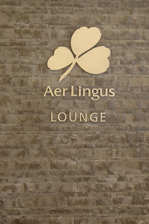 jetblue: NEW YORK- JUNE 9, 2017: Aer Lingus Lounge inside of JetBlue Terminal 5 at John F Kennedy International Airport in New York