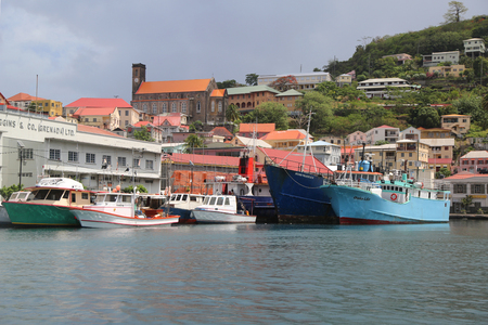windward: ST. GEORGES, GRENADA - JUNE 11, 2017: Fishing boats in St Georges Marina, Grenada