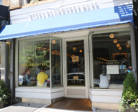 NEW YORK - JUNE 27, 2017: Famous Russ & Daughters Cafe in Lower East Side in Manhattan