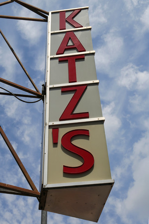 NEW YORK - JUNE 27, 2017: Sign for the historical Katzs Delicatessen (est. 1888), a famous restaurant, known for its Pastrami sandwiches in Lower East Side in Manhattan
