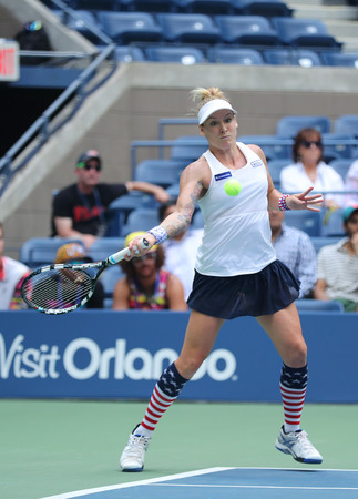 racket stadium: NEW YORK - SEPTEMBER 11, 2016: US Open 2016 women doubles champion Bethanie Mattek-Sands of United States in action during final match  at Billie Jean King National Tennis Center in New York