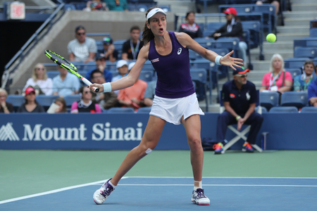NEW YORK - SEPTEMBER 4, 2016: Professional tennis player Johanna Konta of Great Britain in action during her US Open 2016 round four match at Billie Jean King National Tennis Center in New York