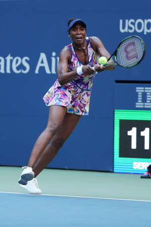 grand hard: NEW YORK - AUGUST 30, 2016: Grand Slam champion Venus Williams of United States in action during her first round match at US Open 2016 at Billie Jean King National Tennis Center in New York