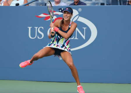 racket stadium: NEW YORK - AUGUST 30, 2016: Grand Slam Champion Ana Ivanovic of Serbia in action during her first round match at US Open 2016 at Billie Jean King National Tennis Center in New York