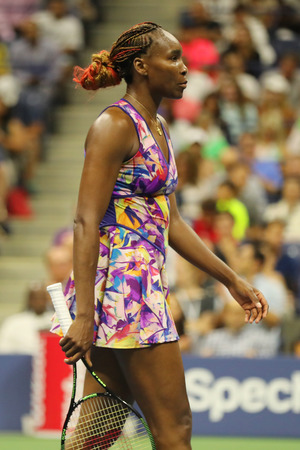 NEW YORK - SEPTEMBER 3, 2016: Grand Slam champion Venus Williams of United States in action during her round 3 match at US Open 2016 at Billie Jean King National Tennis Center in New York Editorial