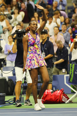 NEW YORK - SEPTEMBER 3, 2016: Grand Slam champion Venus Williams of United States celebrates victory after her round 3 match at US Open 2016 at Billie Jean King National Tennis Center in New York