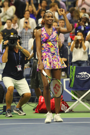 grand hard: NEW YORK - SEPTEMBER 3, 2016: Grand Slam champion Venus Williams of United States celebrates victory after her round 3 match at US Open 2016 at Billie Jean King National Tennis Center in New York