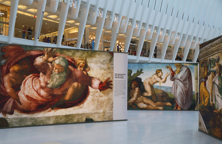 NEW YORK - JULY 16, 2017: Michelangelos Sistine Chapel Up Close exhibition by Westfield taking place at the World Trade Center Oculus in New York