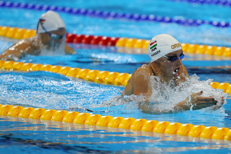 RIO DE JANEIRO, BRAZIL - AUGUST 8, 2016: Olympic Champion Katinka Hosszu of Hungary competes in the Womens 100m backstroke Final of the Rio 2016 Olympic Games at the Olympic Aquatics Stadium