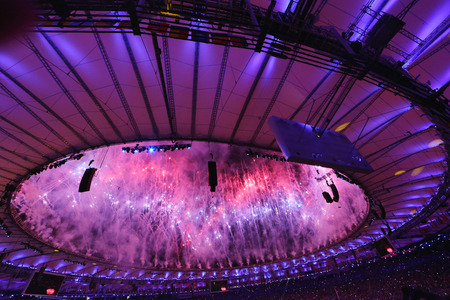 RIO DE JANEIRO, BRAZIL - AUGUST 5, 2016: Fireworks during Rio 2016 Olympics Opening Ceremony. Olympic Games 2016 Officially opened with a colorful ceremony at Maracana Stadium in Rio de Janeiro