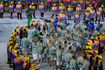 marched: RIO DE JANEIRO, BRAZIL - AUGUST 5, 2016: Olympic team Australia marched into the Rio 2016 Olympics opening ceremony at Maracana Stadium in Rio de Janeiro
