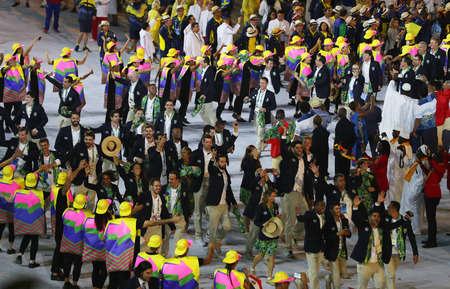 marched: RIO DE JANEIRO, BRAZIL - AUGUST 5, 2016: Olympic team Brazil marched into the Rio 2016 Olympics opening ceremony at Maracana Stadium in Rio de Janeiro