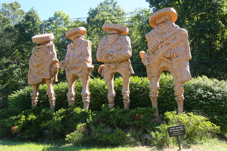 HAMILTON, NEW JERSEY - SEPTEMBER 25, 2016: The Four Amigos sculpture by artist Garret McFann in Hamilton, NJ