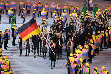RIO DE JANEIRO, BRAZIL - AUGUST 5, 2016: Olympic team Germany marched into the Rio 2016 Olympics opening ceremony at Maracana Stadium in Rio de Janeiro Editorial
