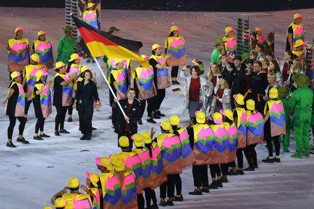 marched: RIO DE JANEIRO, BRAZIL - AUGUST 5, 2016: team Saudi Arabia marched into the Rio 2016 International sport even opening ceremony at Maracana Stadium in Rio de Janeiro