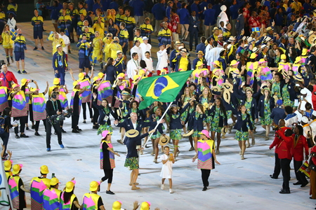 RIO DE JANEIRO, BRAZIL - AUGUST 5, 2016: Olympic team Brazil marched into the Rio 2016 Olympics opening ceremony at Maracana Stadium in Rio de Janeiro