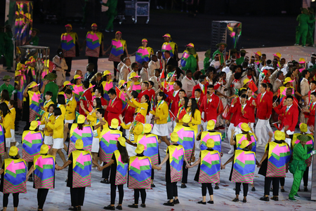 RIO DE JANEIRO, BRAZIL - AUGUST 5, 2016: Olympic team The Peoples Republic of China marched into the Rio 2016 Olympics opening ceremony at Maracana Stadium in Rio de Janeiro