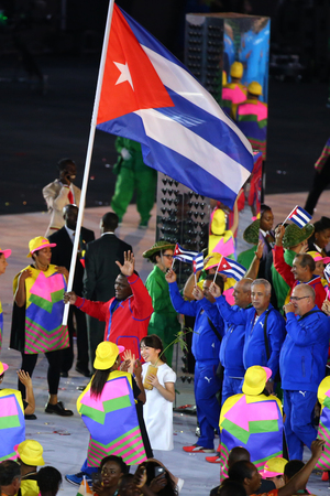 RIO DE JANEIRO, BRAZIL - AUGUST 5, 2016: Olympic team Cuba marched into the Rio 2016 Olympics opening ceremony at Maracana Stadium in Rio de Janeiro