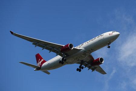 NEW YORK - JULY 18, 2017: Virgin Atlantic Airbus A330 in New York sky before landing at JFK Airport.