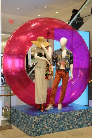 NEW YORK - JUNE 6, 2017: Macys presented Celebrate Summer campaign decoration in the Macys Herald Square in midtown Manhattan