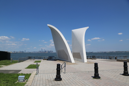 NEW YORK - JULY 16, 2017: Postcards 911 memorial in Staten Island. Built in 2004, it is a permanent memorial honoring the 274 Staten Island residents killed in the September 11 attack