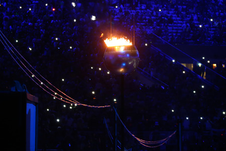 The Olympic flame burns in the Maracana Olympic stadium during the opening ceremony of Rio 2016 Summer Olympic Games in Rio de Janeiro