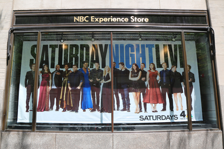 NEW YORK - JULY 20, 2017: NBC Experience Store window display decorated with Saturday Night Life logo in Rockefeller Center in Midtown Manhattan