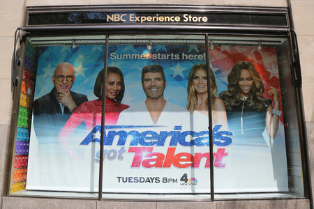 NEW YORK - JULY 20, 2017: NBC Experience Store window display decorated with Americas Got Talent logo in Rockefeller Center in Midtown Manhattan Editorial