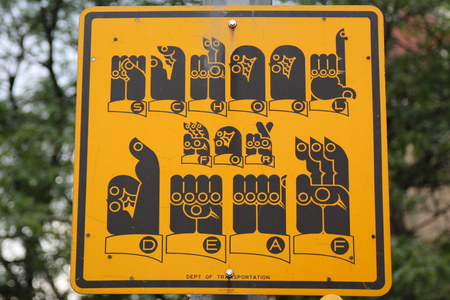 NEW YORK - JULY 11, 2017: School for deaf street sign in Manhattan Editorial