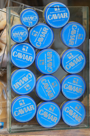NEW YORK - JULY 29, 2017: Variety of caviar on display at the famous Russ & Daughters Cafe in Lower Manhattan