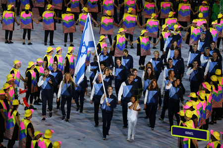 RIO DE JANEIRO, BRAZIL - AUGUST 5, 2016: Israeli Olympic team marched into the Rio 2016 Olympics opening ceremony at Maracana Stadium in Rio de Janeiro