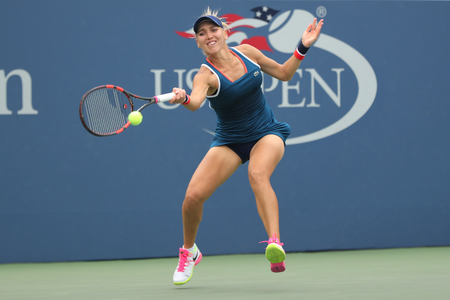 NEW YORK - SEPTEMBER 3, 2016: Professional tennis player Elena Vesnina of Russia in action during US Open 2016 round 3 match at Billie Jean King National Tennis Center