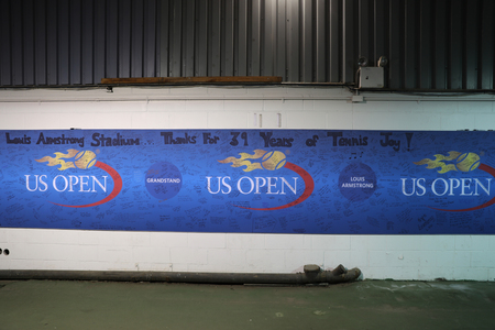 louis armstrong: NEW YORK - SEPTEMBER 6, 2016: Sign after last official match at Louis Armstrong Stadium   at Billie Jean King National Tennis Center. The stadium was demolished in October 2016 Editorial