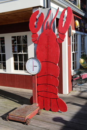 BAR HARBOR, MAINE - JULY 3, 2017: Dockside lobster restaurant in historic Bar Harbor. Bar Harbor is a famous location in Down East Maine with a long history of lobstering