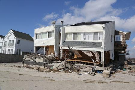 FAR ROCKAWAY, NEW YORK - FEBRUARY 28, 2013: Destroyed beach house four months after Hurricane Sandy in Far Rockaway, New York
