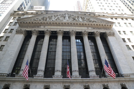 NEW YORK - AUGUST 3, 2017: The New York Stock Exchange in Manhattan. It is by far the worlds largest stock exchange by market capitalization of its listed companies at US$16.613 trillion as of May 2013