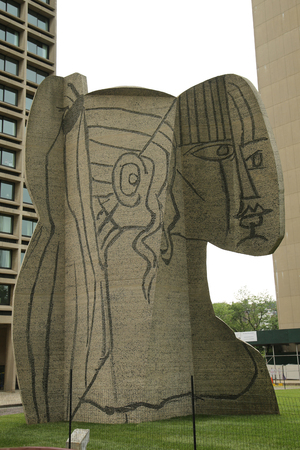NEW YORK - JUNE 16, 2016: Cubistic sculpture known as the Bust of Sylvette created by the Norwegian artist Carl Nesjar in 1968 and was done in collaboration with Pablo Picasso in Manhattan