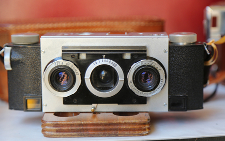 BROOKLYN, NEW YORK - AUGUST 13, 2017: Vintage photo camera at Brooklyns largest flea market in DUMBO.