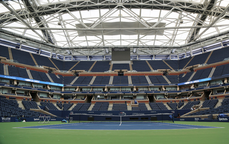 retractable: NEW YORK - AUGUST 21, 2017: Arthur Ashe Stadium with finished retractable roof at the Billie Jean King National Tennis Center ready for US Open 2017 tournament in Flushing, NY